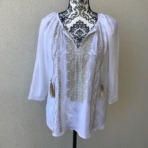 ⭐️ Design Lab white embroidered Indian top NWT SP